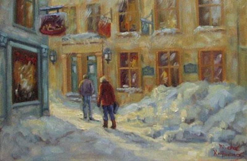 Venez rencontrer et voir à l'oeuvre le peintre Michel Raymond le mercredi 6 février, de 19 h 30 à 22 h, à la Salle Gadbois du Centre culturel (800, rue Turcot). Natif de Montréal, il est imprégné des ambiances de la ville et aime rendre les atmosphères créées par les lumières qui ondulent sur la chaussée et par les personnages. Il explore notamment le mouvement de la pluie ou de la neige qui virevolte afin de produire une illusion de mouvement qui dynamise le sujet urbain. Traduire la lumière su