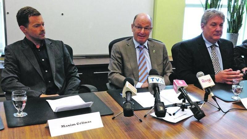 Sur la photo, dans l'ordre habituel, Maxim Gélinas, président du conseil d'administration d'IDE Trois-Rivières; Yves Léveque, maire de Trois-Rivières, et Mario De Tilly, nouveau directeur général d'IDE Trois-Rivières. Photo Daniel Jalbert