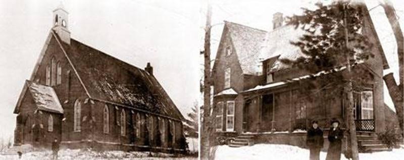 L'église anglicane St Mark's et la maison du pasteur vers 1915.