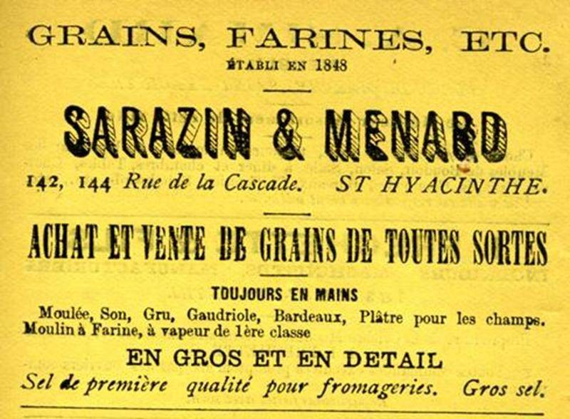 Publicité de Sarazin et Ménard.