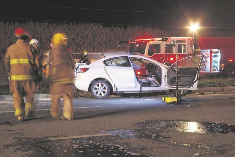 Deux personnes sont mortes le 9 novembre lors d'une collision à l'intersection de la route 116 et du rang Nord Ouest, à Sainte-Marie-Madeleine.  Photo Dominique St-Pierre
