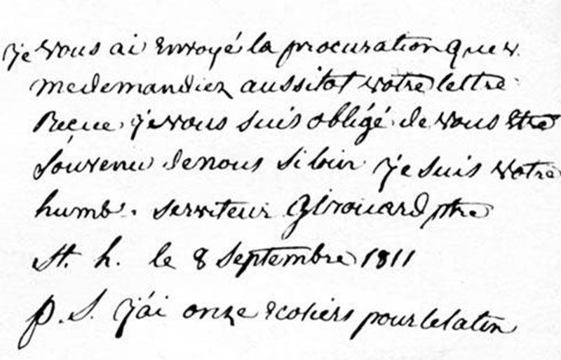 Détail de la lettre de messire Girouard à Mgr Plessis. (Archives du centre d'histoire de Saint-Hyacinthe)