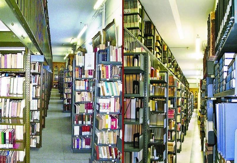 Aperçu général de la bibliothèque et de la mezzanine. Photo : Bibliothèque du Séminaire de Saint-Hyacinthe