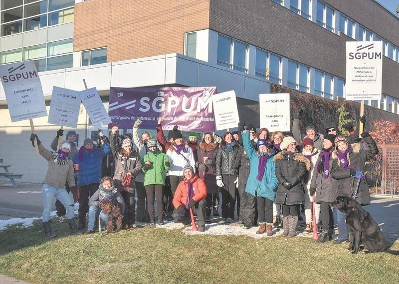 Les professeurs cliniciens de la Faculté de médecine vétérinaire de l'Université de Montréal sont en grève depuis hier mercredi et jusqu'à ce soir. Photo François Larivière | Le Courrier ©
