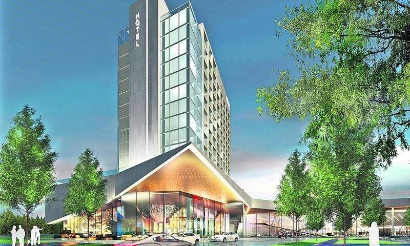 La bannière du futur hôtel haut de gamme de Saint-Hyacinthe devrait être connue ce printemps selon les Centres d'achats Beauward qui en seront propriétaires.