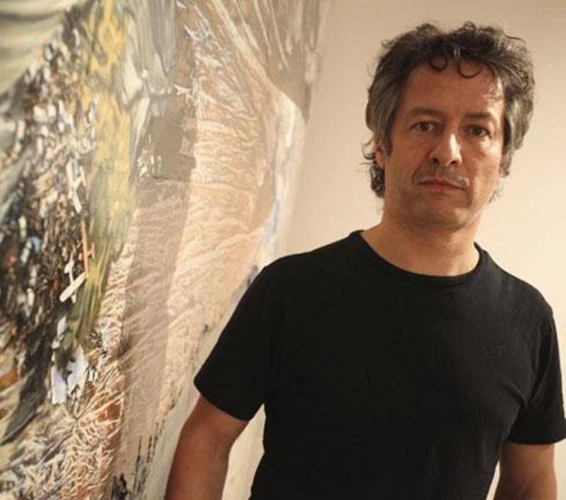 L'artiste Dominique Gaucher lors de son exposition à Expression en janvier.