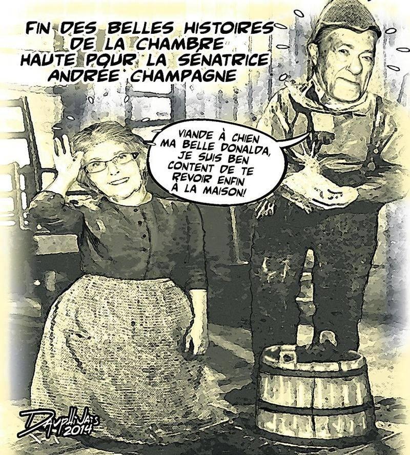 Retraite politique forcée pour la sénatrice Andrée Champagne. Elle pourra enfin s'économiser un peu au grand plaisir de Séraphin, oups pardon, de Sébastien.
