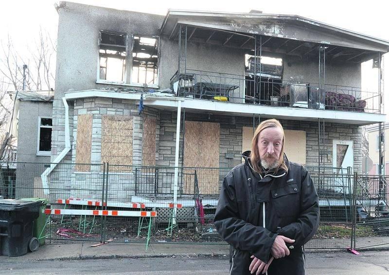 Les flammes n'ont pas réussi à noircir le coeur de Daniel Dion, qui résidait depuis six ans dans l'immeuble complètement détruit de l'avenue Desaulniers. Photo François Larivière   Le Courrier ©