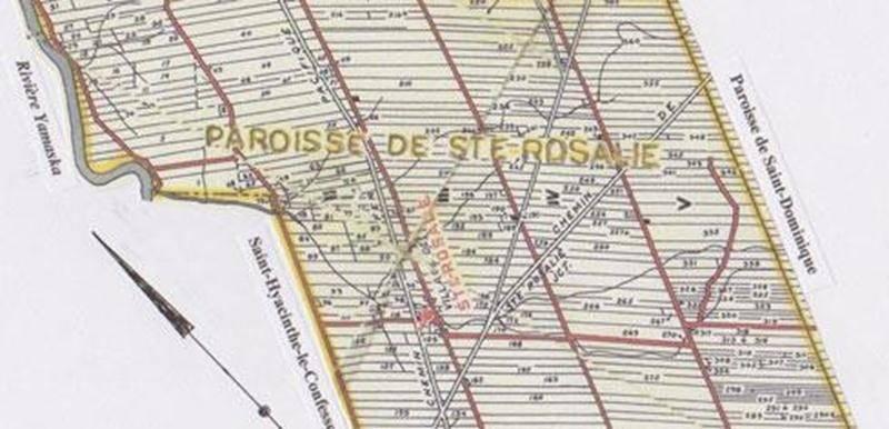 Carte de la Paroisse de Sainte-Rosalie datant de 1955