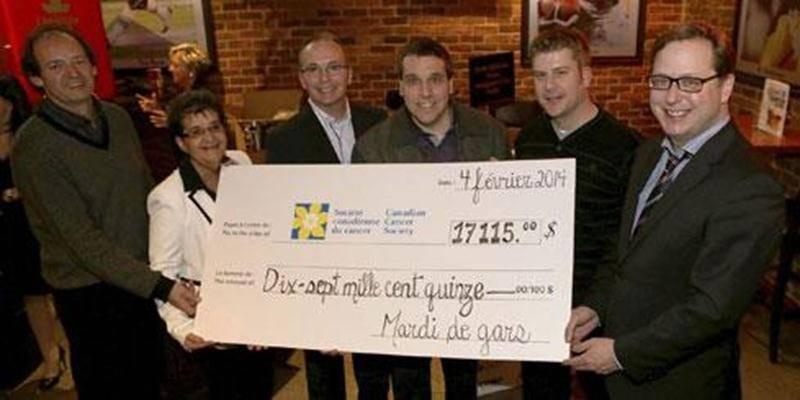Le 5 e Méchant mardi de gars a permis de remettre la somme de 17 115 $ à la Société canadienne du cancer, région de Saint-Hyacinthe. Les membres du comité organisateur peuvent dire mission accomplie.