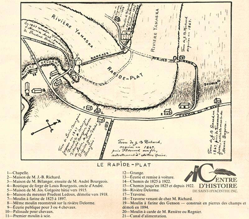 Plan du Rapide-Plat en 1867. Collection Centre d'histoire de Saint-Hyacinthe