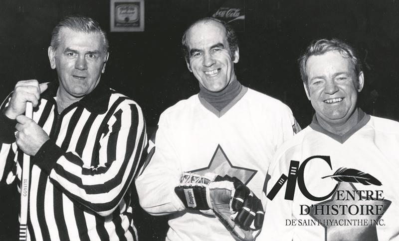 Sur cette photo, on retrouve Guy Rousseau (à droite) en compagnie de Maurice Richard (à gauche) et Guy Black (au centre). Photo Courtoisie Centre d'histoire de Saint-Hyacinthe
