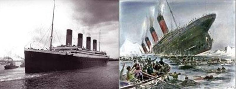 Le Titanic lors de son départ de Southampton, le 10 avril 1912, et les derniers instants du Titanic. (<a href=