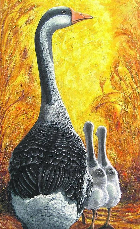 Les thèmes de prédilection de l'artiste-peintre sont les oies et les outardes qu'elle peint depuis environ 20 ans. Sur la photo, l'oeuvre «La fierté».  Ginette Berthiaume