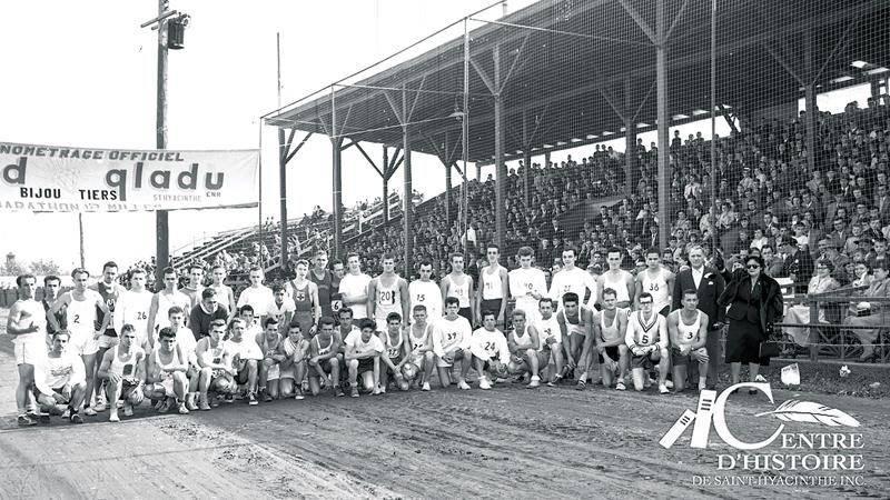 En 1951, le Marathon de Saint-Hyacinthe se déroule au Rond Laframboise. Coll. Centre d'histoire de Saint-Hyacinthe, CH548.