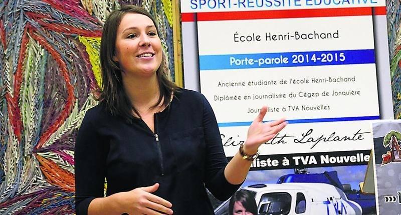 Élizabeth Laplante a encouragé de nombreux jeunes de l'école Henri-Bachand, à Saint-Liboire, à poursuivre leur cheminement scolaire dans le cadre du programme initiation sport-réussite éducative.  Photo François Larivière   Le Courrier ©