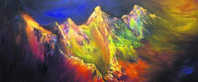 Mes sentiers infinis, peinture sur toile à l'acrylique de Manon Marchand. Photo François Larivière | Le Courrier ©