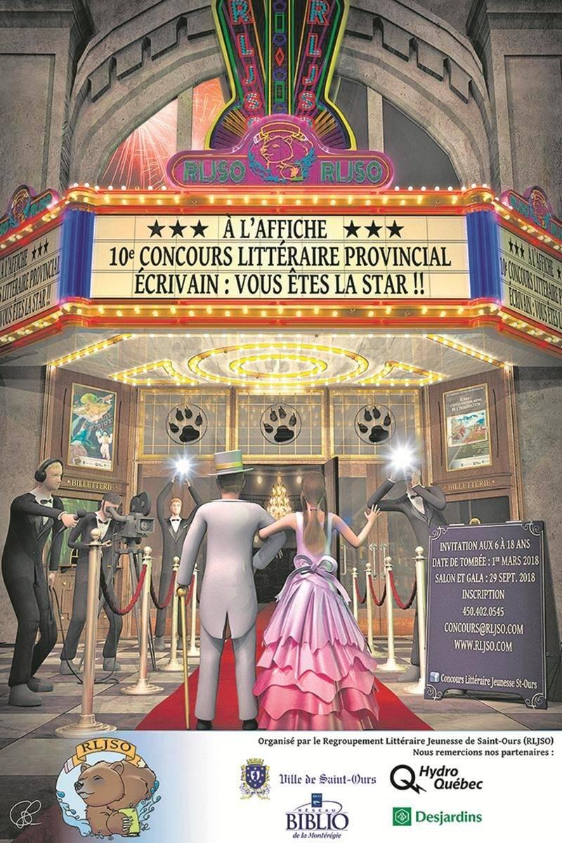 L'affiche du 10e concours littéraire du Regroupement littéraire jeunesse de Saint-Ours.