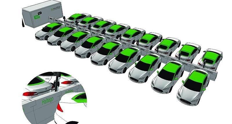 Schéma représentant l'infrastructure de recharge qui sera installée à l'aéroport Montréal-Trudeau. Aux 18 bornes de recharge de niveau 2 représentées sur l'image s'ajoute aussi une borne double de niveau 3, pour une capacité d'accueil totale de 20 voitures. Bectrol