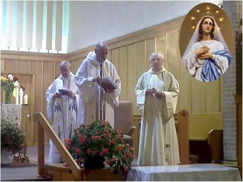 À l'occasion de la fête de l'Assomption de la Vierge Marie (15 août), une journée de prière a été organisée en l'église Assomption-de-Notre-Dame de Saint-Hyacinthe. En soirée, une célébration eucharistique, a été présidée par le Père Michel Vigneau, Trinitaire (au centre). Il a rappelé que le salut est un don de Dieu, qu'il est offert à tous et que les chrétiens d'aujourd'hui reçoivent les mêmes grâces que la Mère de Dieu. Le curé Georges Benoît et le chanoine Jean Corbeil ont concélébré cette e