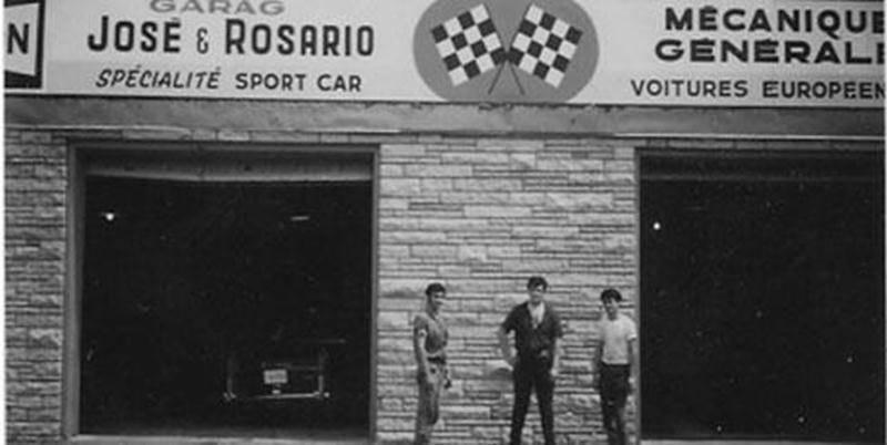 Sur la photo, on peut voir M. José Teixeira devant son garage sur la rue Saint-Louis à Saint-Joseph. Il est celui à droite.