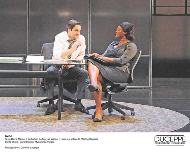 La pièce Race, du Théâtre Jean-Duceppe, sera présentée au Centre des arts Juliette-Lassonde le 17 février. Photo Caroline Laberge