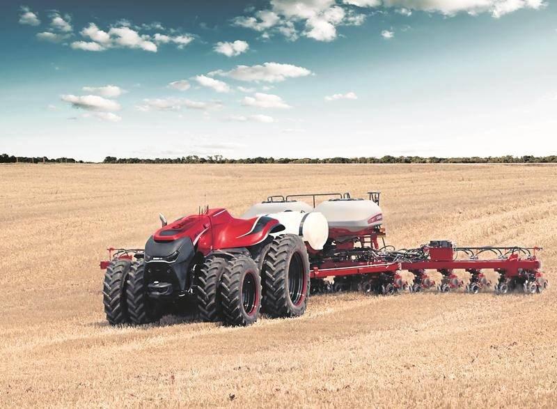 Le géant mondial de la machinerie agricole, Case IH, a conçu un prototype de tracteur autonome commandé et contrôlé à distance dont on a retiré la cabine de pilotage. L'entreprise Case IH commercialise des tracteurs dont les commandes à bord sont de plus en plus informatisées développant ainsi l'autonomie de la machine. Photo courtoisie Case IH