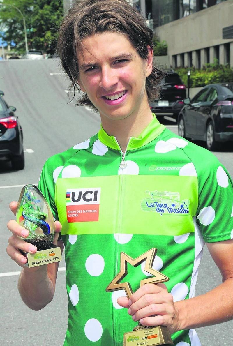 Antoine Ippersiel a remporté le maillot à pois au Tour de l'Abitibi, en plus d'être élu coureur révélation de la 48e édition. Photo Robert Gosselin | Le Courrier ©