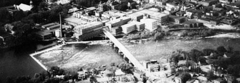 Vue aérienne secteur Penman's vers 1950 BSE14. (Archives du Centre d'histoire de Saint-Hyacinthe)