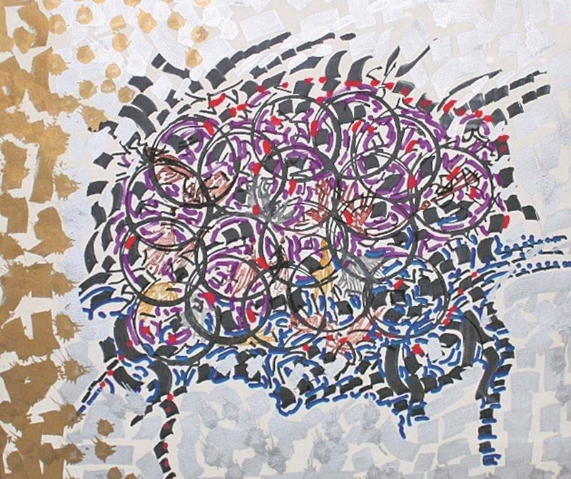 Cette œuvre sans titre de Jean-Paul Riopelle avait été volée en 2008 à Saint-Aubert, dans la région de Chaudière-Appalaches.