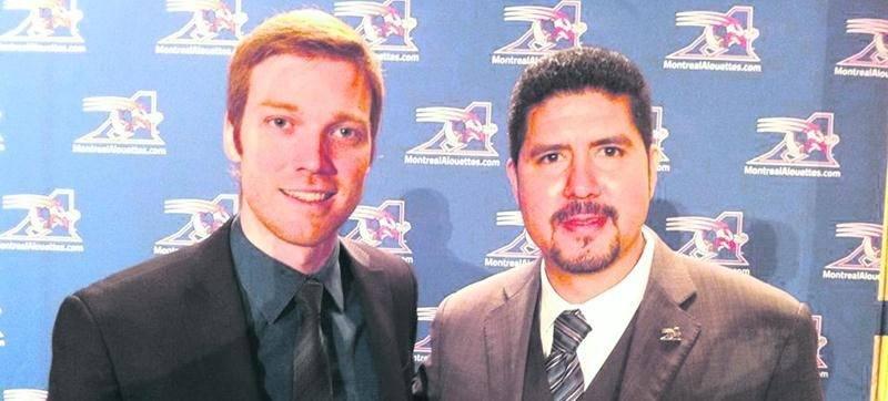 David Messier (à gauche) a joint les rangs des Alouettes de Montréal en 2013. On l'aperçoit en compagnie d'Anthony Calvillo.Photo Facebook