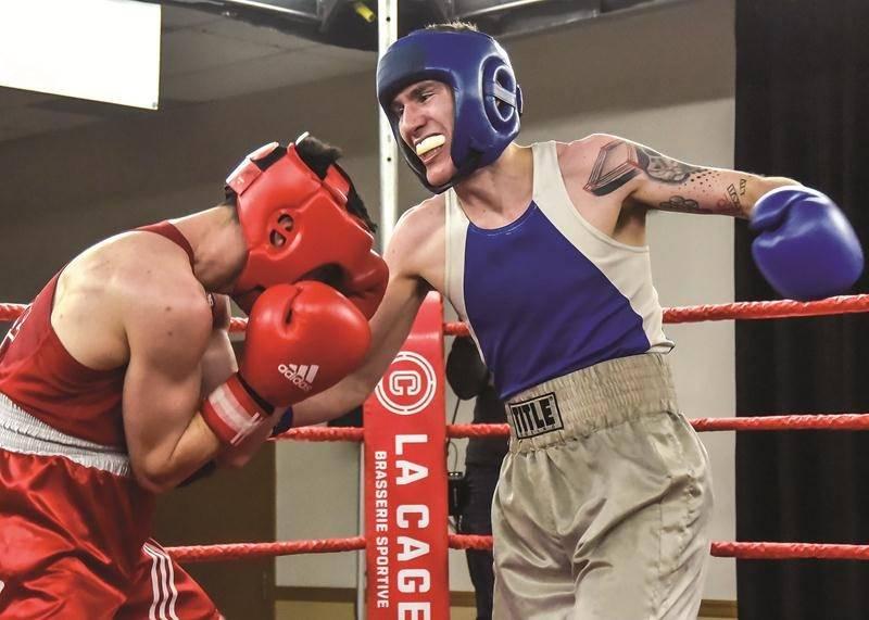 Samuel Lajoie a livré un combat d'une grande qualité face à Valentin Boudet en finale de Boxemania IX.Photo François Larivière | Le Courrier ©