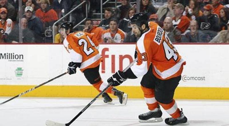 Marc-André Bourdon a disputé son premier match en carrière dans la LNH avec les Flyers de Philadelphie, le 20 novembre, contre les Hurricanes de la Caroline.
