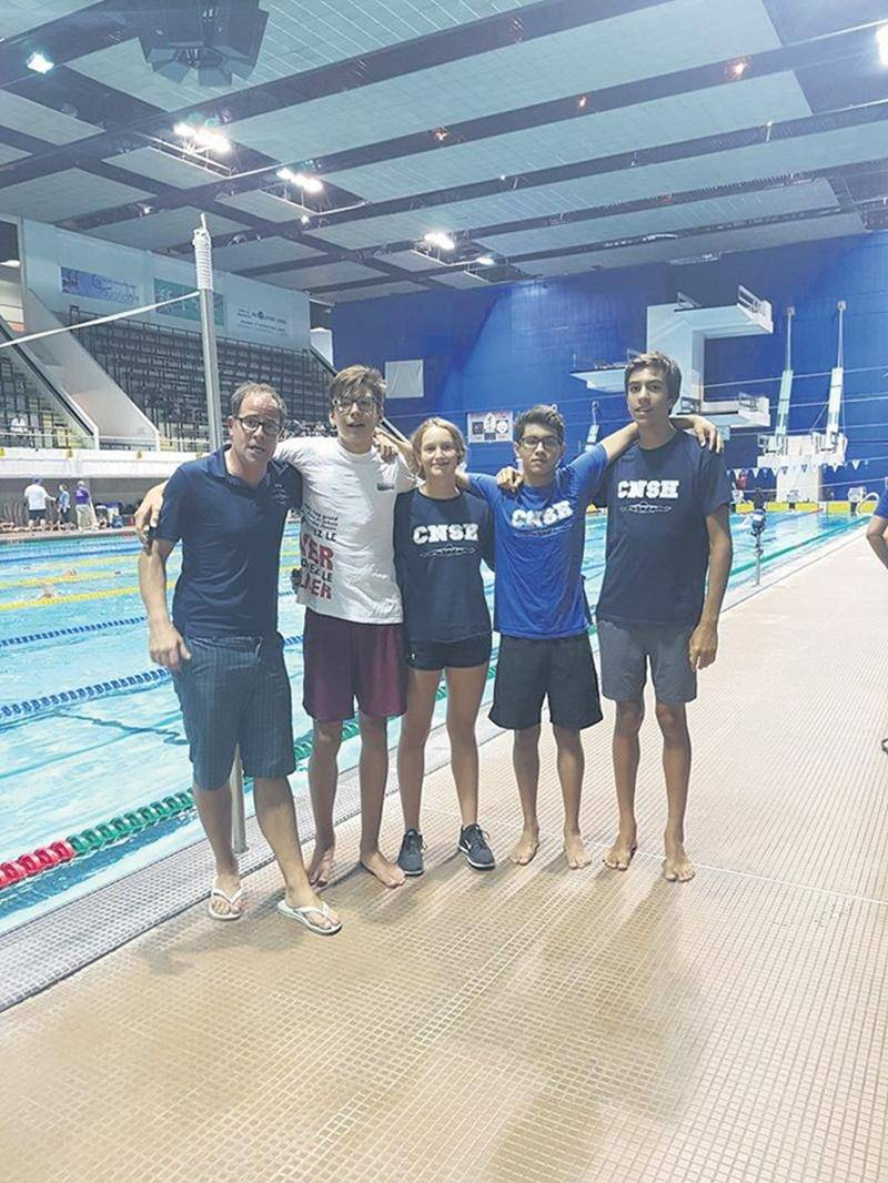 Sur la photo, l'entraîneur du CNSH, Bruno Benceny, en compagnie des nageurs Jacob Dautrey, Justine Roy, German Gonzalez Martinez et Christophe Raymond.  Photo Facebook Club de natation de St-Hyacinthe