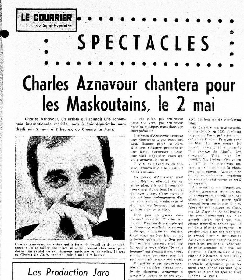 Charles Aznavour avait visité Saint-Hyacinthe plus d'une fois