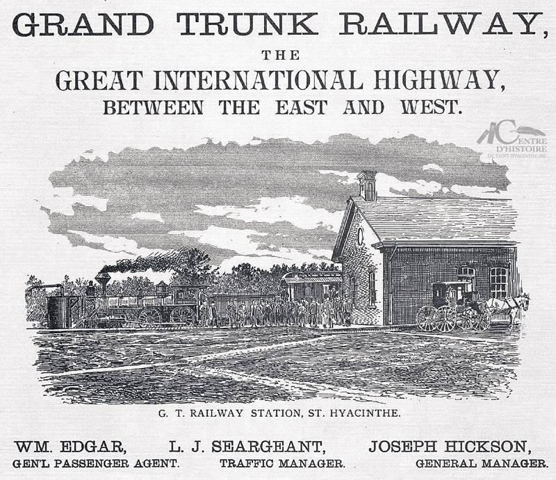 Publicité de la compagnie Grand Tronc publiée dans « St-Hyacinthe Illustré », Vol. 1 décembre 1886. Collection Centre d'histoire de Saint-Hyacinthe, CH478