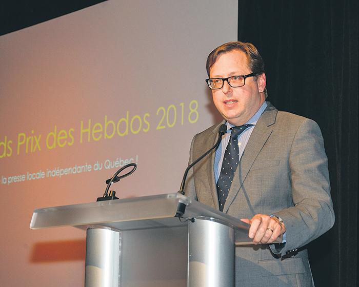 Benoit Chartier, président de DBC Communications et de l'association Hebdos Québec qui regroupe 47 journaux hebdomadaires indépendants de langue française.
