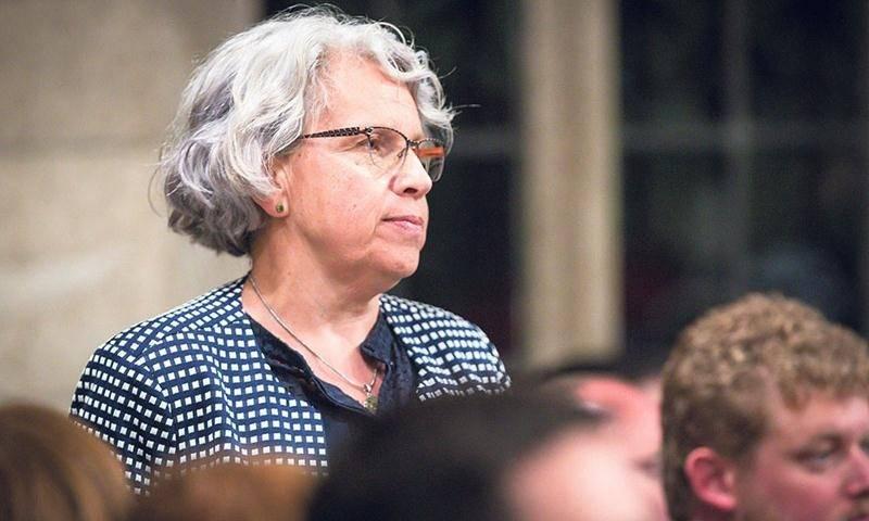 La députée de Saint-Hyacinthe-Bagot, Brigitte Sansoucy, lors d'une intervention à la Chambre des communes. Photo Chambre des communes