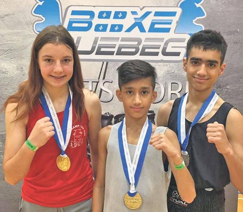 Sur la photo, les médaillés d'or de l'école de boxe Les Apprentis Champions aux Gants Dorés, Caroline Letellier et Asfand Khan, ainsi que Mohammed Ali Khan, médaillé d'argent. Photo Facebook