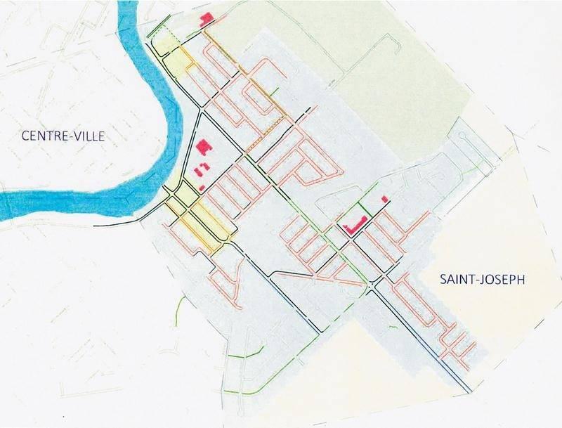 En guise d'exemple, voici plan détaillé du secteur Saint-Joseph avec, en rouge, les trottoirs retirés du nouveau plan, en noir, ceux conservés, en bleu, ceux ajoutés, et les voies cyclables et passages piétonniers en vert. Ville de Saint-Hyacinthe