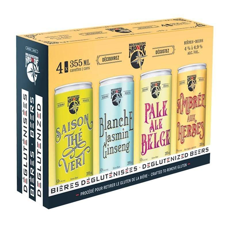 La nouvelle gamme de bières dégluténisées élaborée par Brasseurs du Monde est offerte dans un emballage mixte.