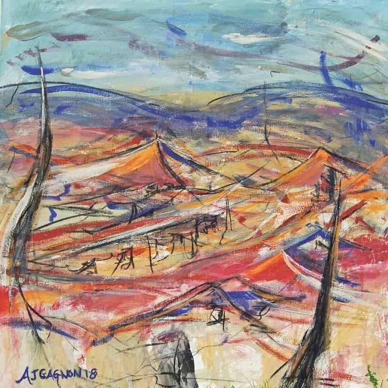 La toile Sauerland, l'une des premières qu'elle a conçues pour l'exposition intitulée Liberté.  Photo courtoisie