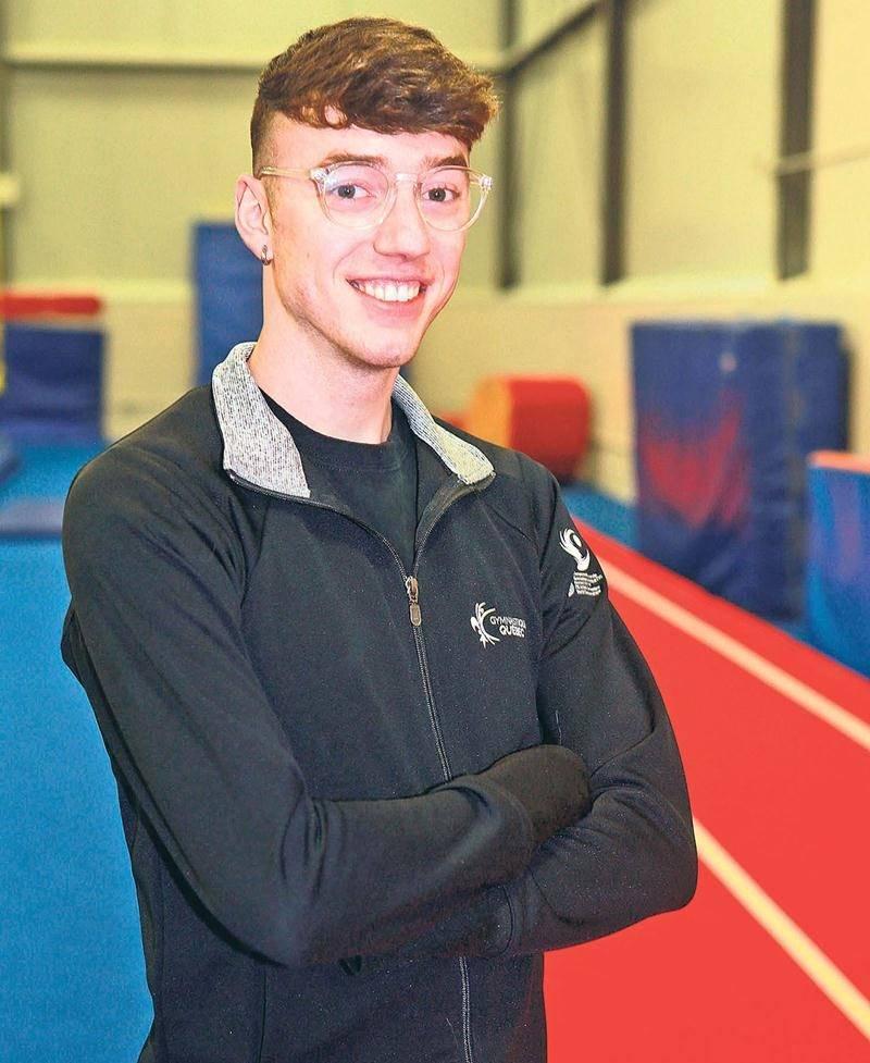 Jean-Philippe Camirand (tumbling) prend part pour la première fois de sa carrière au Championnat du monde de gymnastique par groupe d'âge, qui se tient en Russie actuellement.  Photo Robert Gosselin   Le Courrier ©